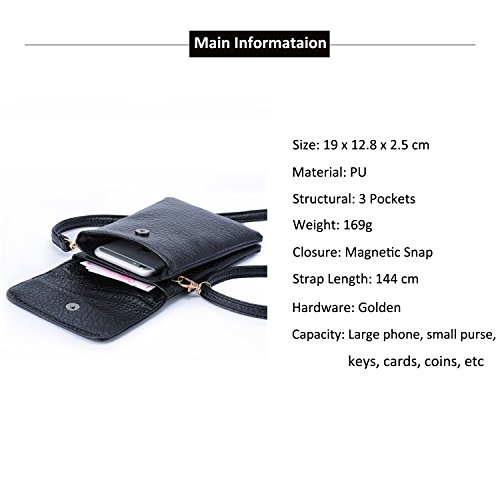 Hengying PU Leather Universal Mini Cell Phone Cross Body Bag Purse Camera  Pouch ... 8163f29bc9