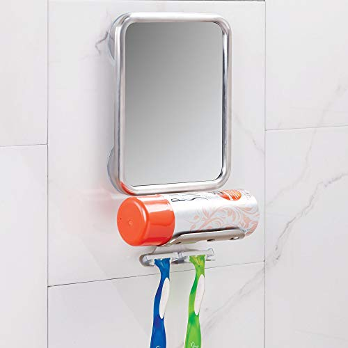 InterDesign Forma Suction Bathroom or Shower Shaving Mirror with Shaving Cream and Razor Holder - Brushed Stainless Steel