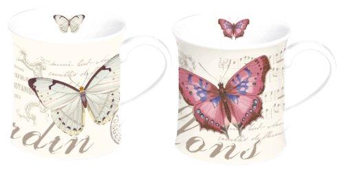 Easy Life Nuova R2S 612papi–Juego de 2piezas de tazas de porcelana diseño de mariposa
