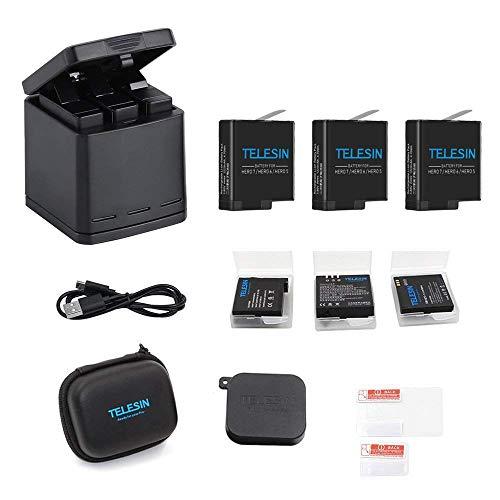TELESIN Caricabatteria triplo per ricarica Caricabatteria+3 pacco batteria con custodie per batterie,mini borsa fotografica,6 in 1 Kit accessori per GoPro Hero 2018, Hero 6, Hero 5 Black