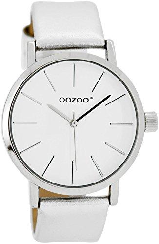 Oozoo Damen-/ Kinderuhr mit Lederband 40 MM Weiss/Silber JR275