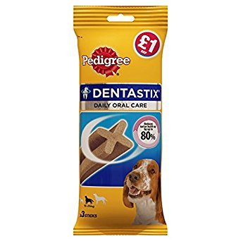 ( 18 Pack ) PEDIGREE DentaStix Daily Oral Care Dental Chews Medium Dog 3 Sticks 77g
