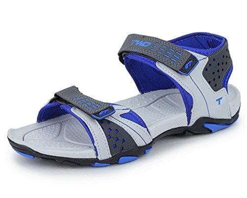 Touchwood Men's Revolution Grey/Blue Sandals & Floaters-9 IND/UK