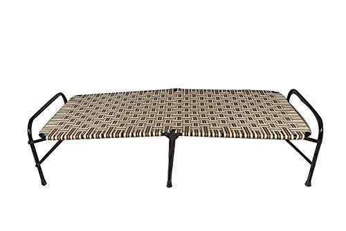 Ponperi Single Size Folding Bed   Iron Folding Bed   Nylon Niwar Folding Bed for Household Purpose
