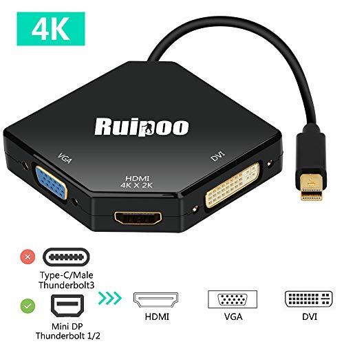 Thunderbolt Port Mini Displayport auf HDMI DVI VGA Adapter Konverter 4K*2K Multiport 3in1 Mini Displayport DP Adapter für Laptop Computer Top-Box TV (Schwarz)