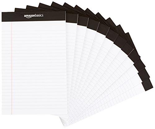 AmazonBasics Narrow Ruled 5 x 8-Inch Writing Pad - White (50 sheets per pad, 12 pack)