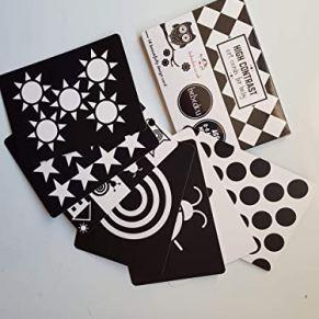 Bebedou Tarjetas de Arte Baby * 7 Tarjetas de Alto Contraste en Blanco y Negro para Desarrollo del bebé, Regalo para recién Nacido