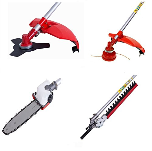 To be precise, there are five attachments supplied with this tool. These include strimmer, brush cutter, hedge trimmer, pruner chainsaw, and extension pole. For instance, the strimmer and brush cutter attachments are perfect for mowing grass, brambles, undergrowth, and removing those tougher patches.