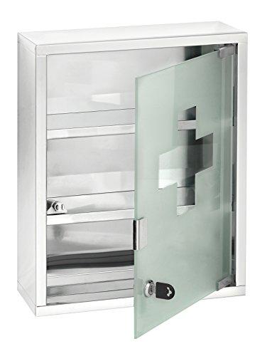 Wenko Medikamentenschrank - Medizinschrank abschließbar, Edelstahl rostfrei, 30 x 40 x 12 cm, glänzend
