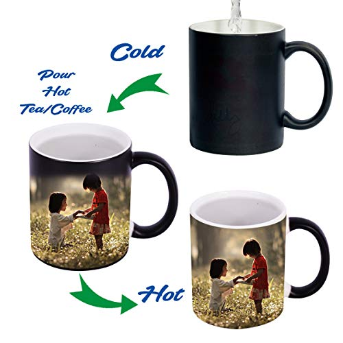 ValueAdds Black Color Changing Magic Photo Mug - Customized or Personalized with Photo