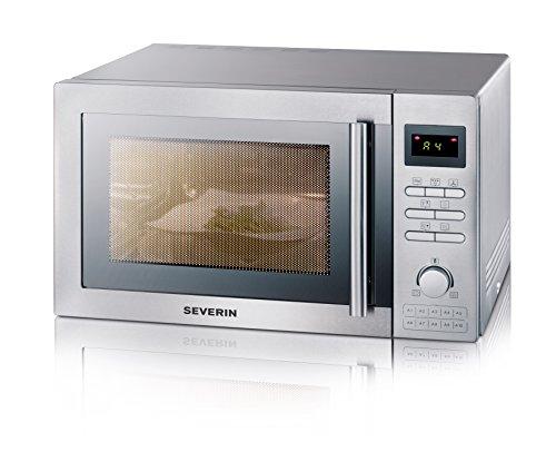 Severin MW7848 Forno a Microonde con Grill e Funzione Aria Ventilata 900W, colore: Acciaio Satinato