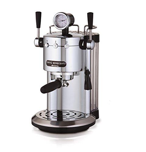 Ariete 1387/20Café NOVECENTO Cafetera espresso, leche, Espacio de almacenaje Calentador de tazas, 1100W, 2tazas, 15Bar, Cromo, Plata/Negro