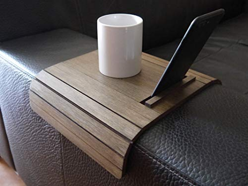 Piccolo tavolino laterale da bracciolo divano con supporto smartphone e ebook reader in molti colori...