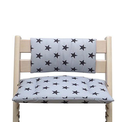 Blausberg Baby - Cuscino per sedia cuscino imbottito Set Junior per Stokke Tripp Trapp Seggiolone (senza la fessura cuscino) - Grigio Nero Stella
