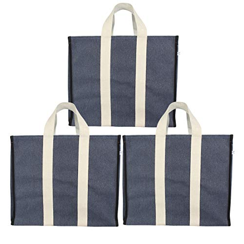 DOUBLE R BAGS Big Eco Cotton Canvas Shopping Bags for Carry Milk Grocery Fruits Vegetable with Reinforced Handles jhola Bag - Kitchen Essential (17x8.5x14-inches) (Pack of 3) (Blue)