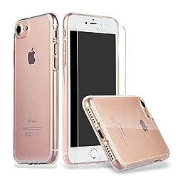 Kaufen iPhone 8 iPhone 7 Hülle Case + Panzerglas, iLiebe iphone 7 Schutzhülle iphone 7 Hülle Case Cover Ultra-Transparente felxible TPU Silikon Handyhülle Hülle mit Anti-Rutsch Kratzfest Crystal Hülle-iPhone 7/8 Hülle + Panzerglas