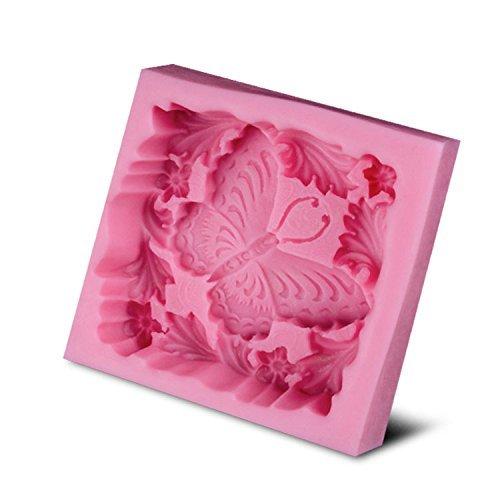 BAKER DEPOT mariposa suave silicona molde para jabón artesanal de jabón moldes Fondant molde color rosa