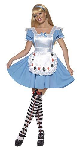 Smiffy's Smiffys-39474S Disfraz deNina baraja de Cartas,con Vestido Color Azul S - EU Tamaño 36-38 39474S