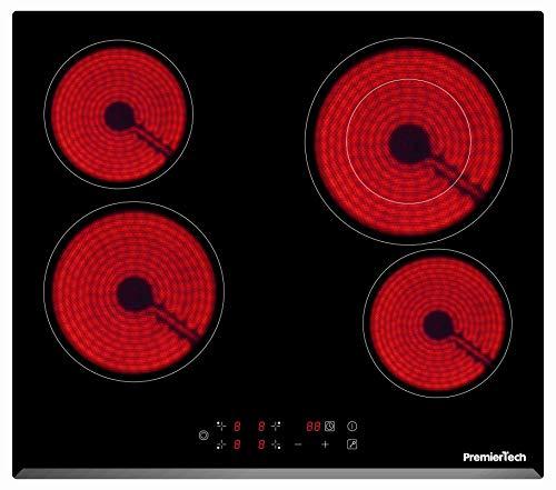 PremierTech Piano Cottura Vetroceramica 4 Fuochi da incasso 60cm PT-PC4C Display Led Touch Control...
