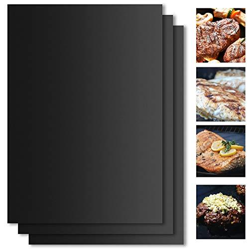 Tappetino per griglia barbecue, set di 5 fogli, resistente al calore, antiaderente riutilizzabile,...