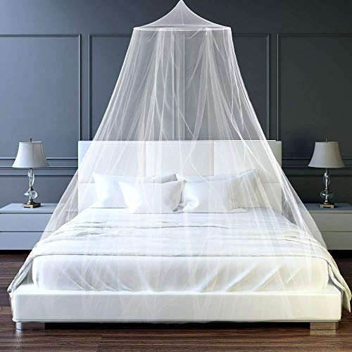 Htovila Moskitonetz Engmaschiges Moskitonetz Doppelbett 200 x 200 cm Einfache Installation Hängenden für Krippen Betten Weiß