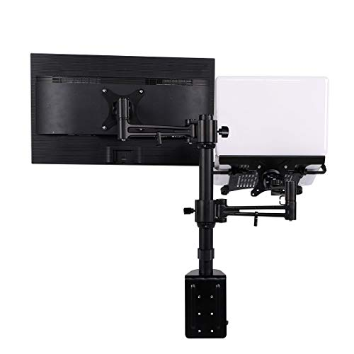 loctek 2 in 1 Dual Monitor arm Desk Laptop Mount Aluminum Stands fits Most 10-27 inches LCD and 11-15.6 inches Laptop d2dl Notebook Holder