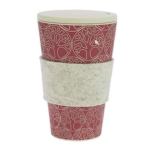 ebos tazza Coffee-to-Go di bambù | con tappo a vite, anello di presa in feltro di lana reale |...