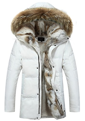 SZYYSD Herren Daunenmantel 90% Daunen Daunenjacke Kunst Fellkapuze lang Parka Luxurious Fur Jacket Rex Fur Collar