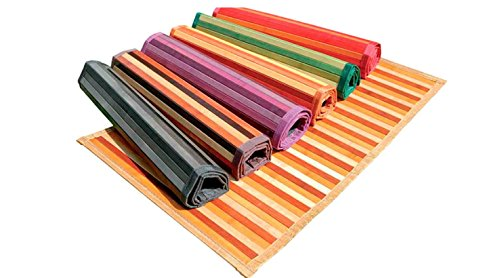 Ca Gi Sa Sorrento Tappeto Bamboo Legno Degradè Multicolor da Cucina o Bagno con Antiscivolo...