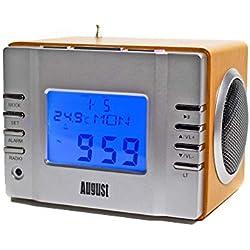 August MB300, Radiosveglia con Lettore MP3, Mini Altoparlante Portatile con Radio FM
