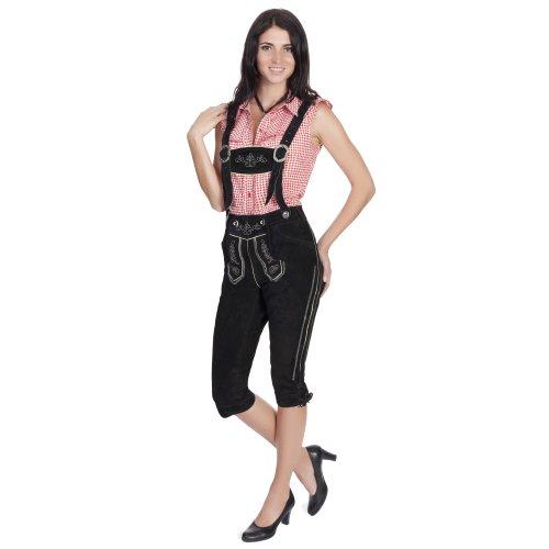 Gaudi-Leathers Damen Trachten Lederhose Kniebund mit Träger in Schwarz (Schwarz 050), W34 (Herstellergröße: 38) -