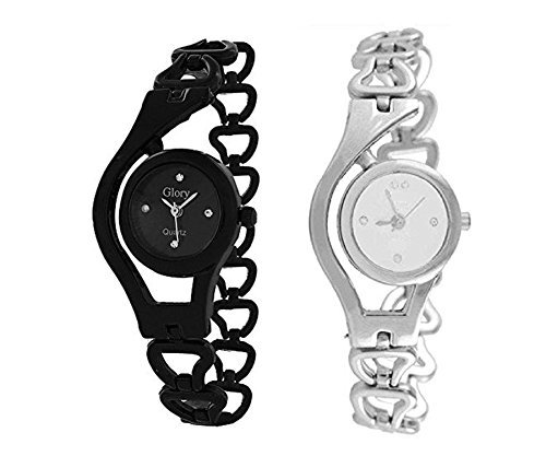 Swiss Analogue Silver And Black Dial Girl'S Watch-Sh-10819910-wlcup-BS