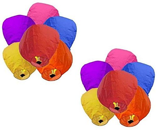 JPG paper Sky Lantern , Standard, Mix Colour - Pack of 5