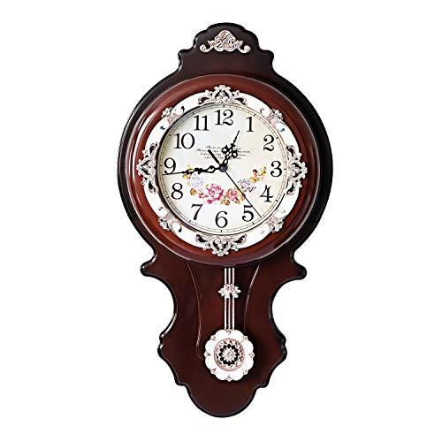 ufengke Orologio da Parete a Pendolo Marrone Scuro Orologio da Muro al Quarzo Fiore Vintage Europei 55.5 * 31 cm