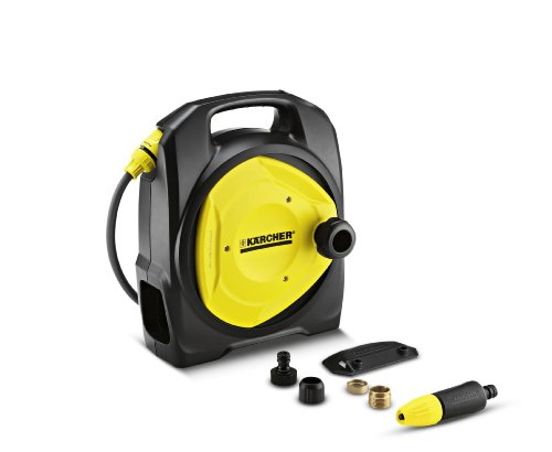 We found the Karcher CR3 110 Compact Water Box to be extremely well made, as you would expect from a Karcher product. What we really like about this water hose, which is not possible with the 'Hozelock Pico' or 'auto-rewind hose', is that it can be fixed to the wall, but if you need to be, a little more portable, you simply lift it off the wall bracket and take it will you.