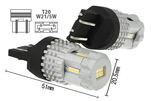 Lampada Led T20 7443 W21/5W 12 Smd 3020 Bianco Super Luminoso Luci Diurne