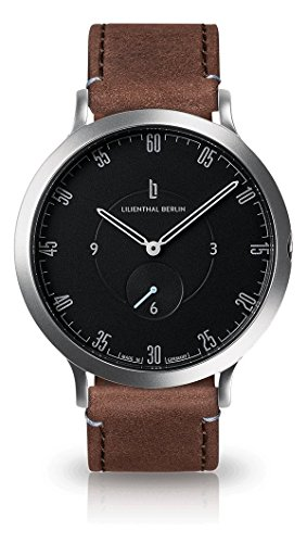Lilienthal Berlin Unisex Armbanduhr 'L1' in Silber-Schwarz mit braunem Lederarmband - L01-105