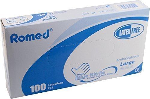 Romed - Guanti monouso in nitrile, senza talcatura, misura XL, 100 pezzi