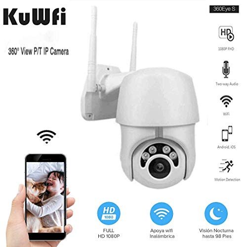 KuWFi 1080P Telecamera di Sorveglianza WiFi,Telecamera IP WiFi 2MP 1080P Wireless PTZ Speed   Dome CCTV IR Onvif Camera Sorveglianza di sicurezza esterna IpCam Camara Esterno