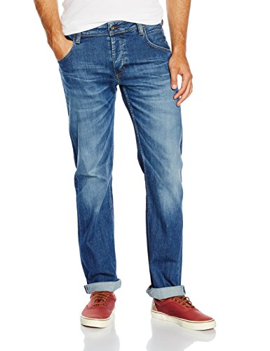 Mustang Herren Jeanshose Michigan Straight, Blau (Light Scratched Used...