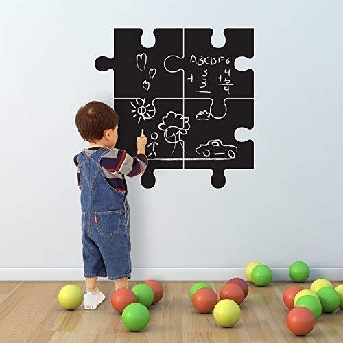 27 x 27 cm, Walplus-Adesivi per parete, motivo: lavagna a forma di Puzzle, autoadesivo, removibile,...