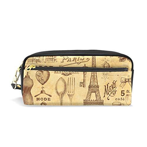Eslifey Nostalgic Paris Element - Astuccio portatile in pelle PU per la scuola, portapenne,...