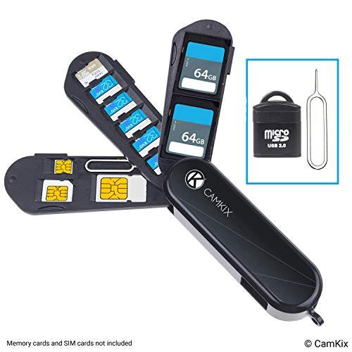 Estuche de Almacenamiento de Tarjeta de Memoria y SIM con Lector Micro SD (USB) y Pin de Expulsión - Diseño Tipo Navaja Suiza - Se Adapta a 1x SD, 6X Micro SD, 1x Mini SIM, 1x Micro SIM y 1x Nano SIM