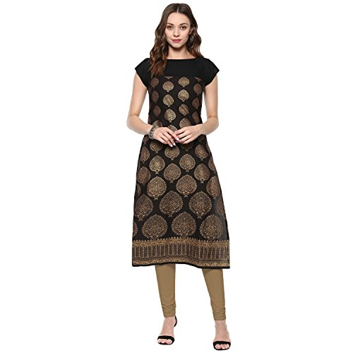 Ives Black & Golden Cotton Printed Kurti For Women