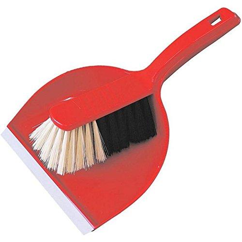 Bürstenmann–Escoba y recogedor con cuerpo de plástico y cerdas sintéticas, color rojo