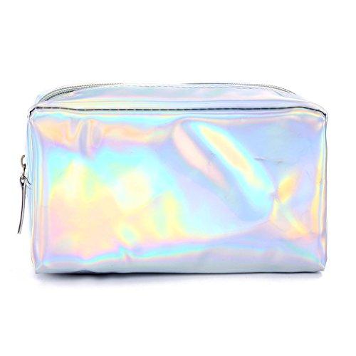 Lamdoo Fashion olografico Pencil Case makeup Pouch Storage zipper borsa argento Silver