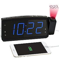 Kaufen Radiowecker, Projektionswecker mit FM Radio, Dual-Alarms Digital Deckenuhr Nachtwecker mit USB-Ladeanschluss, Schlummern/Snooze Funktion