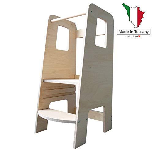 ùlly, la prima Learning Tower in legno naturale realizzata in Italia secondo i principi Montessori. Disegnata da esperti per essere la torre di apprendimento che aiuta ad educare i propri figli