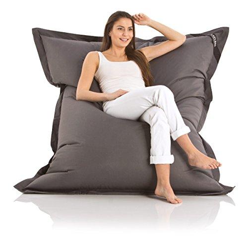 Poltrona a sacco originale 'Lazy Bag' per esterni dimensioni XXL - 180 x 140cm imbottitura: 360 L, Nylon, grigio scuro, Nylon