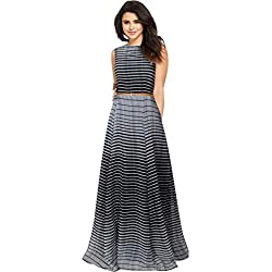Belomoda Black Color Premium Georgette Fabric Sleeveless Printed Casual Partywear Stitched Long Gown For Women